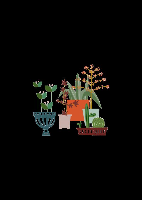 Art Print Our Garden, Ping & Moos, a bit of nature, een beetje buiten, en bisschen draussen