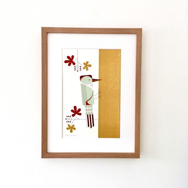 Art Print Woodpecker, Ping & Moos, a bit of nature