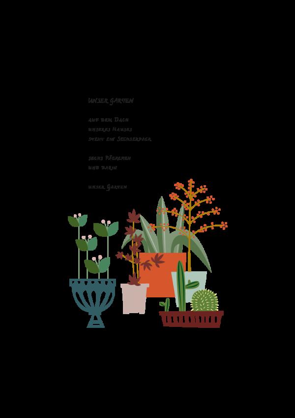 Art Print Our Garden, Onze Tuin, Ping & Moos, a bit of nature, een beetje buiten, en bisschen draussen